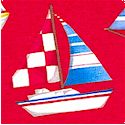 By the Sea - Sailboats on Red by Daborah Taylor Kerman