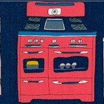 Bake - Retro Ovens and Stovetops on Navy by Julia Rothman