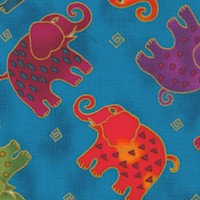 Mythical Jungle - Tossed Gilded Elephants on Blue by Laurel Burch