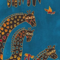 Mythical Jungle - Gilded Giraffes on Teal by Laurel Burch