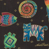Mythical Jungle - Tossed Gilded Jungle Animals on Black by Laurel Burch