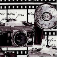 That's Hollywood! Vintage Cameras and Filmstrips in Black and White - LTD. YARDAGE AVAILABLE