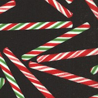 Tossed Holiday Candy Cane Sticks on Black