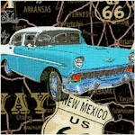 American Dream - Vintage Cars on Route 66 Map