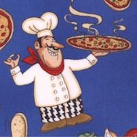 Kona Prints - Happy Pizza Chefs on Blue