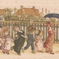 Kate Greenaway Vintage Children on Musical Background