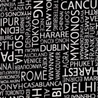 International City Names in Black and White