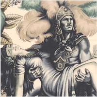 Folklorico - Contigo - Aztec Characters and Symbols in Blue
