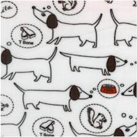 Hot Diggity Dogs in Black and White and Red - SALE! (MINIMUM PURCHASE ONE YARD)