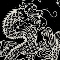 Black and White Asian Dragon Batik