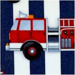 Fire Station - Firetrucks on Vertical Navy Stripes