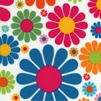 Every Iota - Retro Colorful Daisies on White