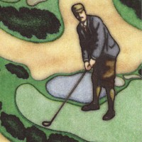 Chip Shot - Golfers Through the Years on Beige by Dan Morris