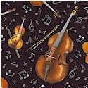 Live Jazz - Tossed Stringed Instruments and Musical Notes on Black