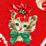 Kitty Garland - Retro Holiday Kittens on Red