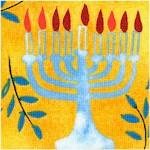 Hallmark Hanukah - Tossed Menorahs and Olive Branches