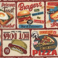 Life's a Kick - Fast Food - Retro Diner Menu Collage