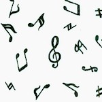 Black and White Basics - Tossed Musical Notes and Symbols on Ivory