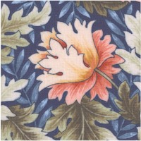 Morris-Style Floral in Peach, Blue and Sage Green by William and May