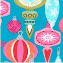 Jingle Dangle - Retro Christmas Ornaments on Turquoise- LTD. YARDAGE AVAILABLE