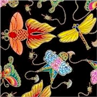 Peking Kids - Gilded Asian Kites on Black