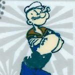 Popeye the Sailor Man on FLANNEL - 42 - 43 inches wide