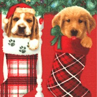 Fireside Pups - Christmas Puppy Vertical Stripe by Robert Giordano