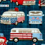All American Road Trip - Retro Vans on Denim Background