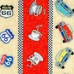 Route 66 - Retro Vertical Diner Stripe