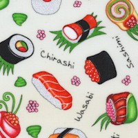 Chopsticks Please! Tossed Sushi with Labels on Ivory