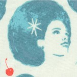 Fruit Dots - Retro Women and Cherries in Blue
