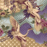 Kimono Collection - Gilded Magnificent Cranes and Scenery