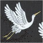 Kimono - Soaring Cranes with Metallic Gold Highlights