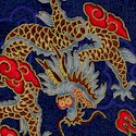 China Doll - Magnificent Gilded Dragons on Soft Sateen #2- LTD. YARDAGE AVAILABLE