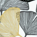 Mixed Metals - Tossed Metallic Ginkgo Leaves on White