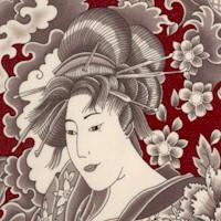 Orimono Collection - Elegant Geishas and Flowers on Burgundy