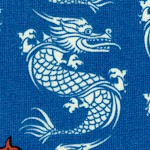 Year of the Ninja - Small Scale Asian Dragons on Blue