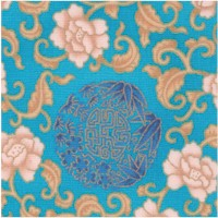 China Doll - Gilded Floral Bamboo and Asian Motifs on Blue Sateen