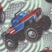 American Truckers - Tossed Trucks on Waving Flags