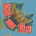 Young Patriots - Gilded American Symbols on Blue