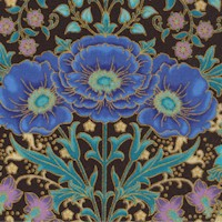 Florentine Garden - Gilded Flowers and Birds on Black #2