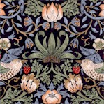 Kelmscott Strawberry Thief on Navy - Large by Morris & Co.