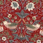 Kelmscott Mini Strawberry Thief on Red by Morris & Co.