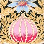 Ornate Art Nouveau Floral on Black (ART-nouveau-X860)