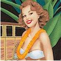 Retro-Look Aloha Pin-Up Girls and Woodies on Black  - BACK IN STOCK!