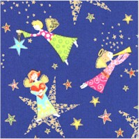 Holiday Minis - Gilded Small-Scale Angels on Blue - SALE! (ONE YARD MINIMUM PURCHASE)