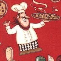 Kona Prints - Happy Pizza Chefs on Red