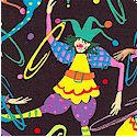 Clowning Around - Tossed Bright Jesters and Hoops on Black
