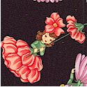 Tossed Vintage Blossom Belles on Black - SALE! (MINIMUM PURCHASE ONE YARD)