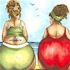 More Fruit Ladies - Beach Scene Panels - Sold and Priced by the Panel